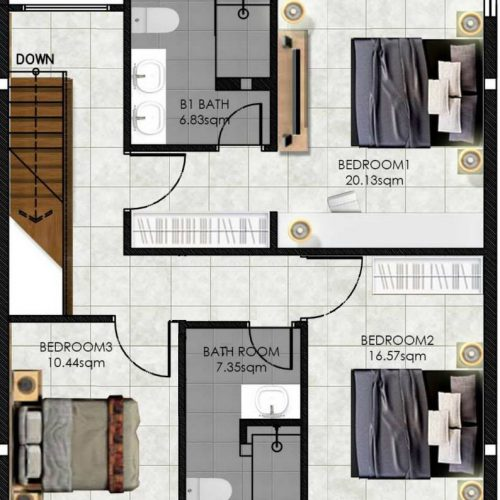 VillaDeja - upstairs floor plan